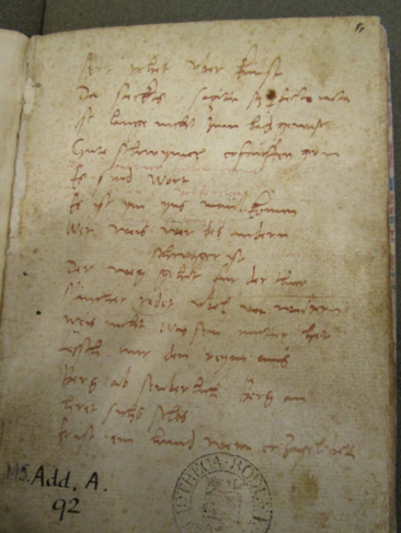 Bodleian Libraries, MS Add. A. 92, f.1r. Photograph: Alexander Peplow, courtesy Bodleian Libraries.