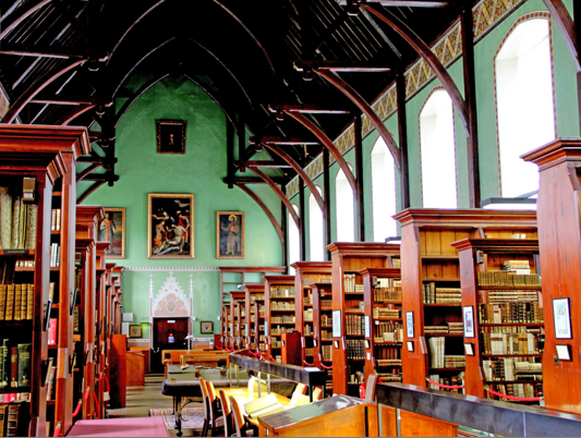 The Russell Library at Maynooth University was designed by A.W.N. Pugin and completed in the year 1861.