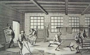 Image depicting the treatment of animal skins from the 'Encyclopédie, ou dictionnaire raisonné des sciences, des arts et des métiers'.