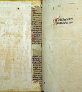 Binder's waste reinforcing the spine of Augustinus' 'Opuscula', which was printed in Strasbourg in 1489.