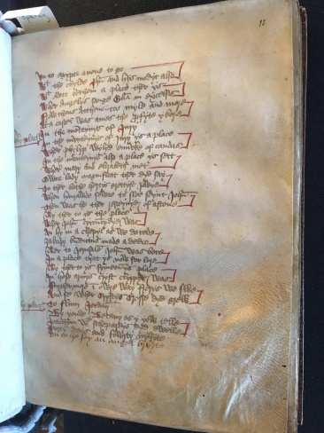 MS Bodl. 565, f. 11r (hair side). Photo Mary Boyle, courtesy ©Bodleian Libraries, University of Oxford