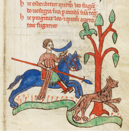 Illumination of a hunter chasing a lion in Kongelige biblioteket, GKS 3466 8°, f. 8r. Reproduced with the kind permission of the Royal Danish Library.
