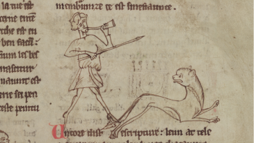 An illumination of a hunter chasing a lion in Merton College, MS 249, f. 2r. Reproduced with the kind permission of The Warden and Fellows of Merton College, Oxford.