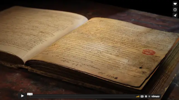 Still from teaser video, showing an imaginary book.