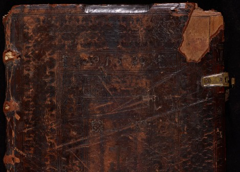 Scratches and stamps on the upper board/ binding of MS Bodl. 972